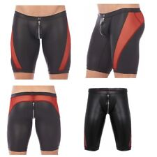 Mens Leather Mesh Sheer Short Hot Pants Zipper Slim Fit Leg Tight Boxer Shorts
