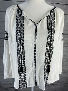 Lucky brand vintage embroidered peasant top Black White Size M