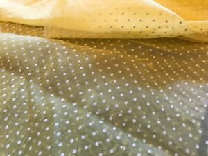 """Vintage Flocked Pollen Yellow Dotted Swiss Sheer Fabric 36"""" x 8-1/2"""" # 2180 BTY"""