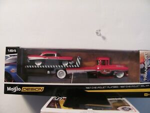 MAISTO Design Transport 57 Chevy Flatbed with 57 Chevy Belair 1:64 NEW LTD ED