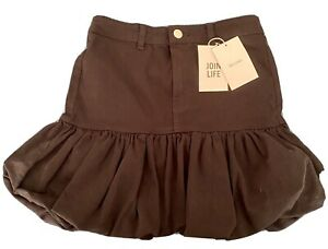Bershka Black Denim Puffball Mini Skirt Bnwt Size 8