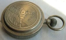 Lion's Watch Railroad Pocket Watch open face white metal carved case