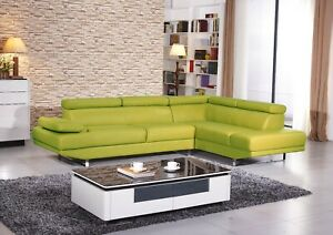 Mia Leather Sectional Apple Green
