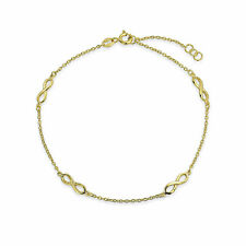 Chain 14K Gold Plate Sterling Silver Multi Infinity Love Knot Anklet Link