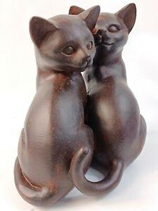 Cats Ornament Kittens Figurine Dark Sitting Statue Resin Bronze Gold Brown
