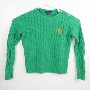 Ralph Lauren Chaps Womens Sweater Size S Green Gold Buttons Crew Neck Jumper