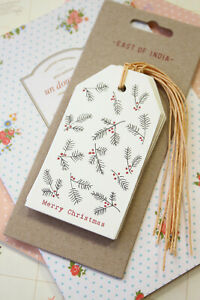 East of India Merry Christmas Berries Luggage Tags 6pc gift tag xmas packaging