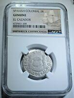 1764 El Cazador Shipwreck 2 Reales Piece of 8 Real Colonial Pirate Treasure Coin