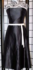 SCOTT MCCLINTOCK Women's Size 4 Black Strapless Dress White Trim Waist Bow EUC