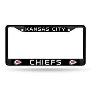 Kansas City Chiefs Authentic Metal BLACK License Plate Frame Auto Truck Car NWT
