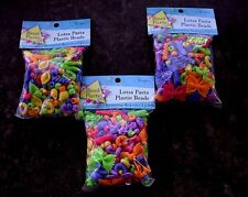3 BAGS PLASTIC PASTA BEAD CHILDREN CRAFT GIFT CLOSEOUT CLEARANCE SALE BELOW COST