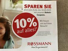 12 Rossmann Coupons Gutscheine Gutschein 10% auf Alles! Gültig bis 30.09.2020