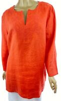 Style & Co Tunic Top Blouse Size 16 Linen Coral Orange 3/4 Sleeve