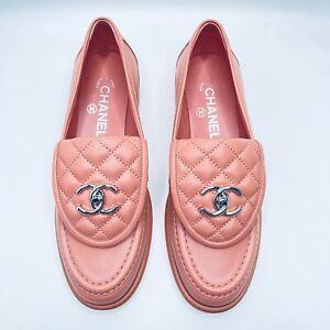 NIB 2021 Chanel pink interlocking CC logo loafers 37 EUR Sizes