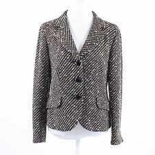 Black brown striped tweed TRIXI SCHOBER long sleeve button down blazer jacket 10