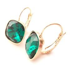 Emerald Green Gold Plated Drop Earrings w/ Cushion Cut Swarovski Crystal 4470