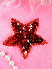 JB72 Star Applique 2 Inch Red Sequin Beaded Independence Patriotic