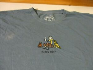 LIFE IS GOOD BRAND Happy Hour JAKE WITH COFFEE & DOG BY CAMPFIRE T-SHIRT- 2XL