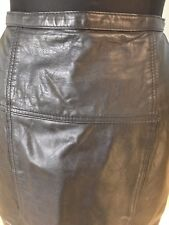 VINTAGE 80S CHAUS HIGH WAIST LONG BLACK GENUINE LEATHER SKIRT STRONG S HOURGLASS