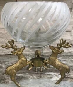 Antique Victorian Brass table fish bowl pedestal stand holder Table Deer holder