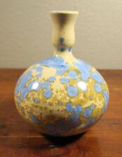 Crystalline Glazed Art Pottery Bottle Vase Beige & Blue Signed Wenzel. 4C