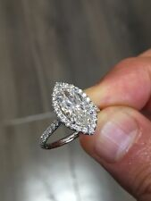 2.28 Ct. Marquise Cut Halo Pave Diamond Engagement Bridal Set GIA Natural 14k