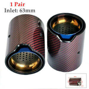 1 Pair 63mm Inlet Out 93mm Carbon Fiber Auto Exhaust Pipe Tail Muffler End Tip