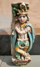 Ancient Hindu Temple  Krishna Sandstone Hand Carved Painted 1700's Rare Statue