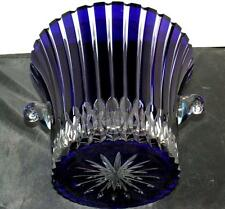AJKA Hungary CASTILLE Cobalt Blue Cased Cut to Clear Bohemian Crystal Ice Bucket