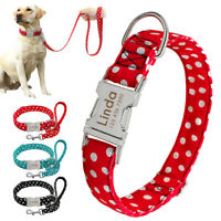 Personalised Small Large Dog Collars and Lead Set Custom Pet Name ID Engraved