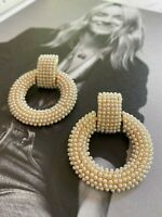 Latoir Instagram Blogger Gold Pearl Hoop Drop Minimalist Statement Earrings BNWT