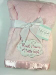 New Baby Gear Plush Pink Fur & Satin THANK HEAVEN FOR LITTLE GIRLS Blanket