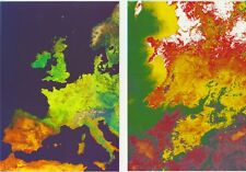 3 x Satellite Maps: Ireland, Wales, UK & W Europe for Expo'92 Seville, postcards