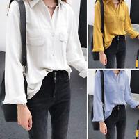 ZANZEA Womens Long Sleeve Casual Loose Tunic Blouse Top Button Down Solid Shirt