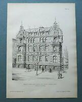 AR86) Architektur Berlin 1886 Doppelvilla Gebäude Straße Haus Holzstich 28x39cm