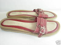 WOMENS RED TAN LEATHER SLIDES SANDALS COMFORT CAREER HEELS SHOES SIZE 7.5 M