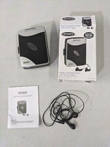 Jensen Portable Stereo Cassette Player w/ AM/FM Radio Sport Earbuds Silver OPEN