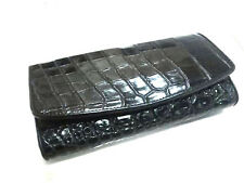 Genuine Crocodile Wallets Skin Leather Belly Black Trifold Women's Wallet Clutch