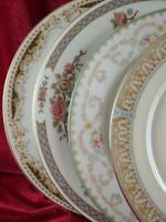 4 Vintage Mismatched China Dinner Plates Florals Roses Gold  Cottage Shabby 205