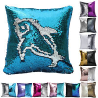 "16"" Magic Mermaid Pillow Case Reversible Sequin Glitter Sofa Cushion Cover USA"