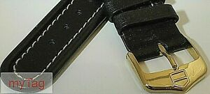 Original TAG Heuer Mens Black Leather  Strap w/Gold Tang Buckle 20mm