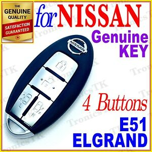 NISSAN ELGRAND SMART KEY / INTELLIGENT KEY / 4 BUTTONS - E51 SERIES