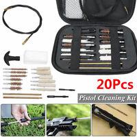 20Pcs Pistol Cleaning Kit Carrying Case Universal 22 357 38 40 45 9mm Hand Guns