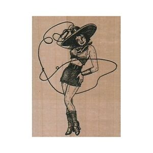 NEW Cowgirl Spinning Rope RUBBER STAMP, Cowgirl Stamp, Western Stamp, Wild West
