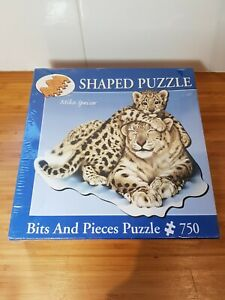 Bits And Pieces Mike Speiser Snow Leopard And Cub 750 Piece Shaped Jigsaw Puzzle