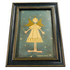 "Warren Kimble Angel Ballerina Folk Art Print Pink Slippers 8.5"" x 6.5"""