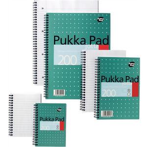 PUKKA JOTTA METALLIC WIROBOUND 80gsm 200 PAGE NOTEPADS IN A4/A5/A6