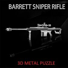 3D Metal Barrett 50.cal Militar Rifle de francotirador pistola Puzzle Miniatura Modelo .50 Cal