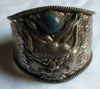 Ancient Antique VICTORIAN Silver Bracelet Cuff engraved Dragon Lapis Lazuli