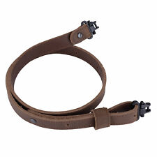 Buffalo Leather Rifle Gun Sling with Mil-Spec Swivels Crazy HorseBrown Stitch